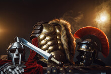 Studio Shot With Backlit Of Roman Outfit