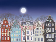 Amsterdam Netherlands Dancing Houses. Street In Amsterdam With Traditional Buildings With Trees, Fairy Lights And Moon.
