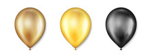 Birthday Balloons Vector Set. Golden And Black Balloon For Wedding Celebration. Celebrate Anniversary, Helium Gold Balloon. Festival Romantic Decorations. Realistic Birthday Party Elements. Vector