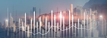 Financial Growth Chart Graph Diagram Analysis Big Data Trading Investment Concept. City View Skyline Website Header Banner Double Exposure
