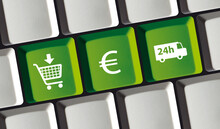 Online Shop Principle On Computer Keyboard Cart Truck Euro Icon Buy Pay Deliver
