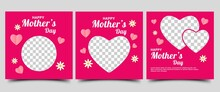 Mothers Day Social Media Post Template. Modern Social Media Post With Love And Flower Decoration On Pink Background.