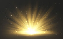 Sunlight Special Lens Flash Light Effect On Transparent Background. Effect Of Blurring Light. Vector Illustration