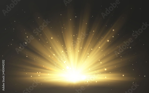 Sunlight special lens flash light effect on transparent background. Effect of blurring light. Vector Illustration - fototapety na wymiar