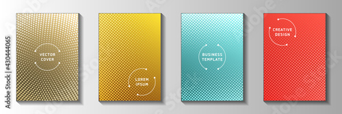 Fototapeta Creative circle perforated halftone cover page templates vector set