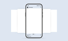 Phone With Social Media Mockup Icon. Photo Carousel Template. Blogging Concept. Vector EPS 10. Isolated On White Background