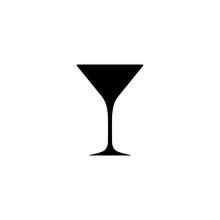 Martini Glass Silhouette, Beverage Goblet.Alcohol Drink Icon On A White Background.Simple Logo.Black Shape Basis For The Design.Isolated. Vector Illustration.