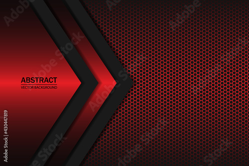 Canvas Geometric shapes on a hexagonal red grid