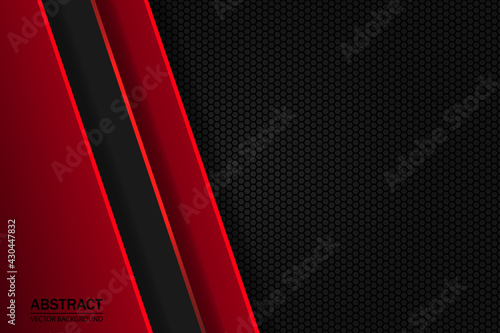 Foto Red and black geometric shapes, stripes and lines on a dark hexagonal carbon fiber grid