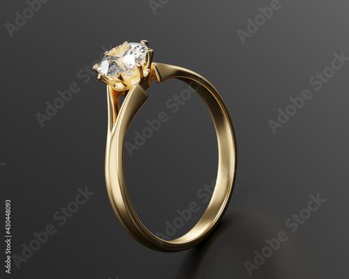 Obraz Gold Diamond Ring Isolated On black Background, 3D Rendering. - fototapety do salonu