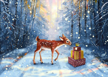 Winter, The Forest In Snow And Reindeer. A Baby Roe Deer Met A Bird Sitting On Gift Boxes. The Presents Are On The Road Where Santa Drove And Rubbed A Few Boxes. Winter Forest, Snow, Christmas Trees.