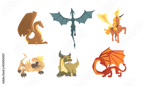 Obraz Fantastic Creatures with Fire Breathing Dragon and Pegasus Vector Set - fototapety do salonu