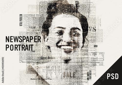 Newspaper portrait effect - fototapety na wymiar