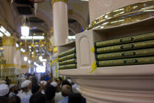 The Shot Of Pilgrims Inside The Masjid Al Nabawi Including The Beautiful Interior Works