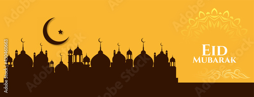 Photographie Elegant religious Eid Mubarak festival islamic banner