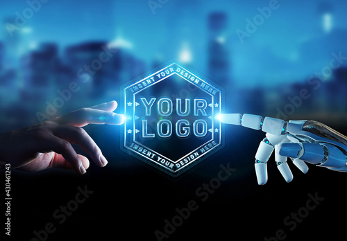 Fototapeta Futuristic Logo Mockup with Robot and Human Hands obraz