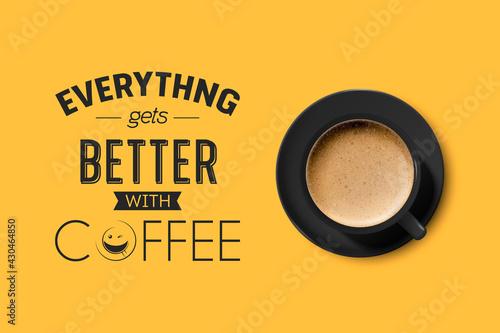 Carta da parati Vector 3d Realistic Black Ceramic Porcelain Mug with Foam Coffee - Capuchino, Latte, Americano