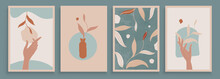 Teal And Peach Abstract Botanical Art With Woman Hands. Set Of Soft Color Painting Wall Art For House Decoration. Minimalistic Canvas Background Design. Vector Wall Art Plants In Boho Style.
