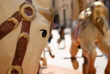 Carrousel Horse Head Close-up In Valencia Railway.