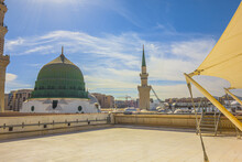 The Green Dome Is A  Built Above The Tomb Of The Islamic Prophet Muhammad And Early Muslim Caliphs