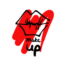 Graffiti Lips In The Form Of A Kiss On A Red Background Of Smeared Lipstick And The Inscription Make Up. Vector Illustration. Hand Drawn Icon And Symbol For Print, Logo, Sticker, T-shirt Design