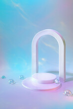 Abstract Surreal Scene - Empty Stage With Cylinder Podium And Arch On Holographic Pastel Background With Glass Beads In Water. Pedestal For Cosmetic, Beauty Product, Packaging Mockups Presentation