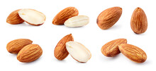 Almond Isolated. Almonds On White Background. Almond Set. Whole, Cut, Half, Slice Almond.. Full Depth Of Field.