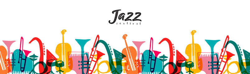 Jazz music instrument doodle cartoon banner