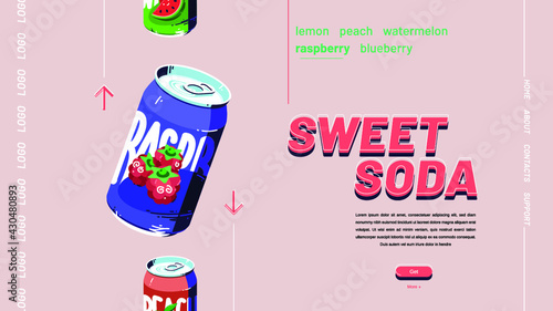 Fototapeta Vector banner of sweet soda, fruit drink illustration obraz na płótnie