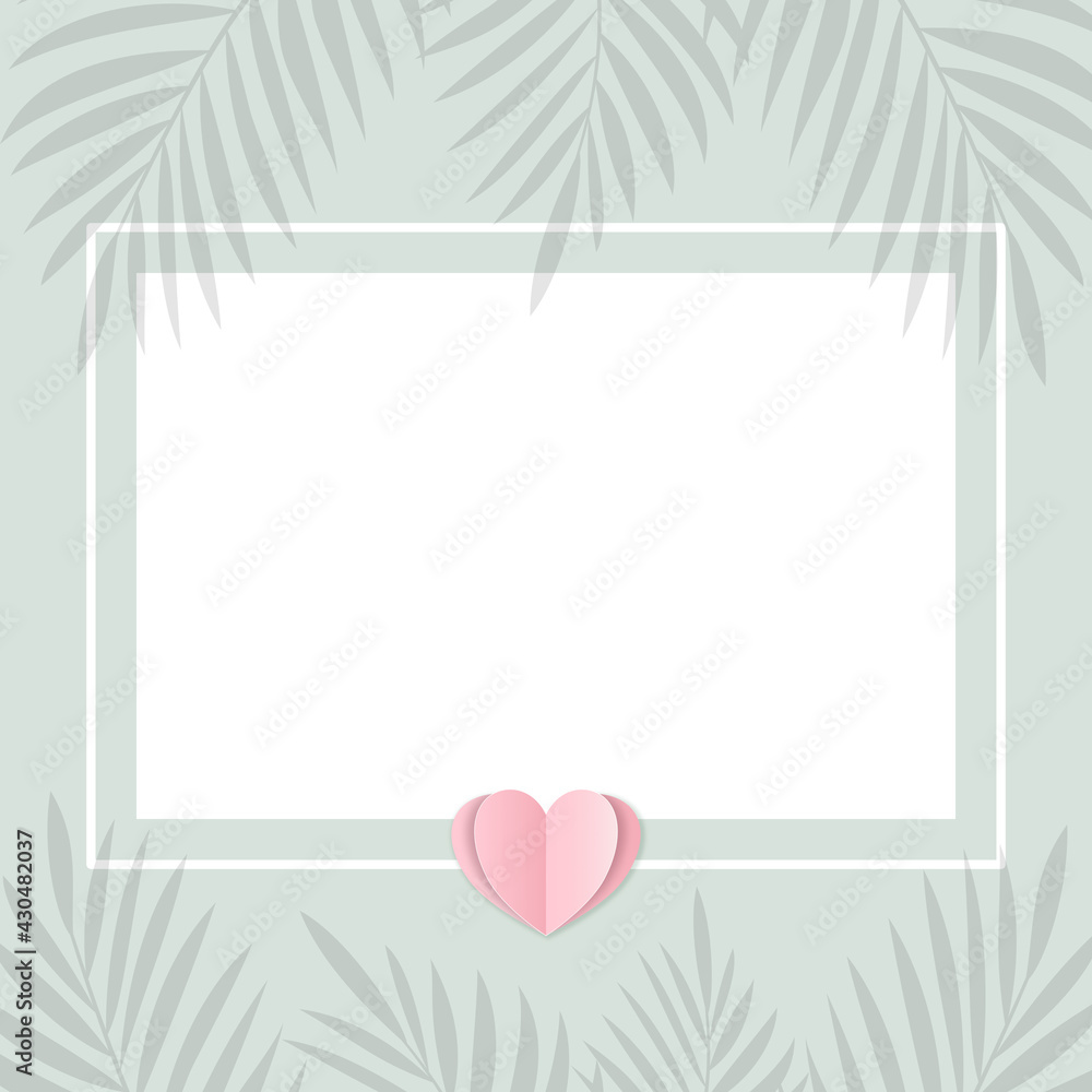 Fototapeta Pusta karta na pastelowym zielonym tle w minimalistycznym stylu z sercem z papieru i palmowymi liśćmi. Zaproszenia ślubne, życzenia, tło dla social media stories, karta podarunkowa, voucher.