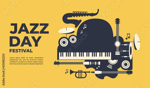 Fotografiet Jazz day poster and banner vector illustration for banner, poster, event  promot
