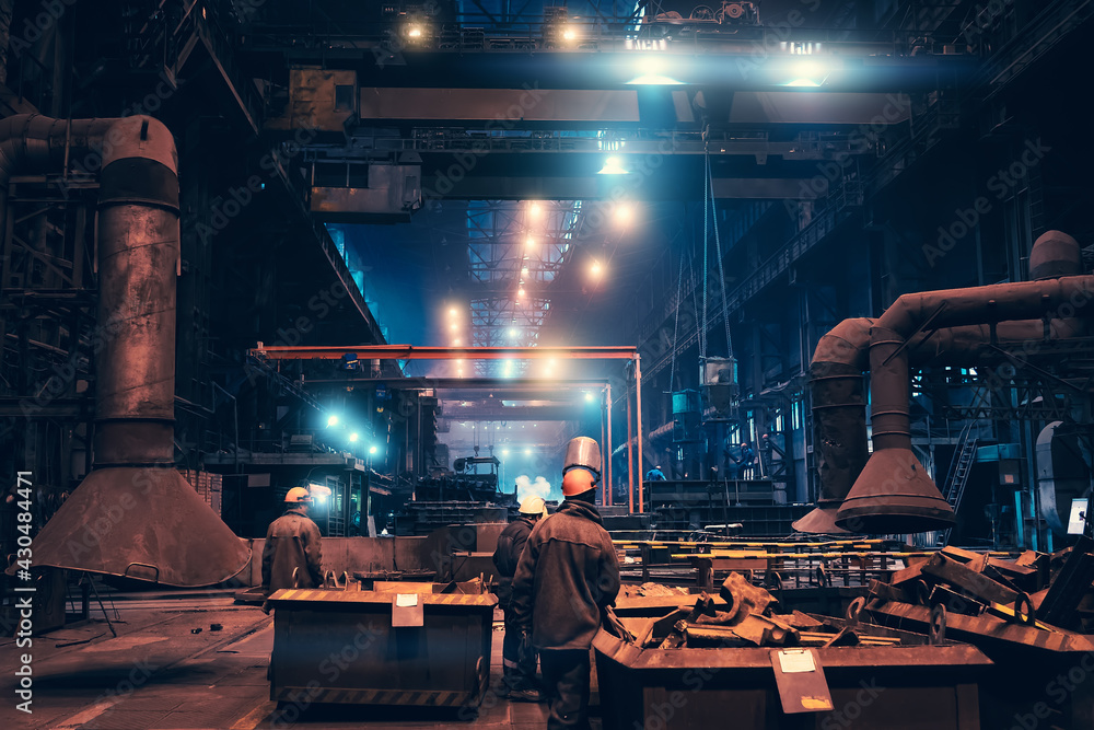 Obraz Metallurgical plant workshop production manufacturing building inside interior, heavy industry, steelmaking. fototapeta, plakat