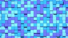 3D Abstract Cubes Loop. Multicolored Geometric Mosaic Waves Pattern. Construction Of Hills Landscape Using Blue And Purple Blocks. 3d Animation Loop Of 4K