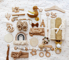 Gender Neutral Parenting. Set Of Baby Stuff And Accessories. Newborn Baby Items. Top View, Flat Lay