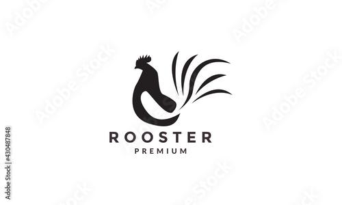 Billede på lærred modern shape rooster logo symbol icon vector graphic design illustration