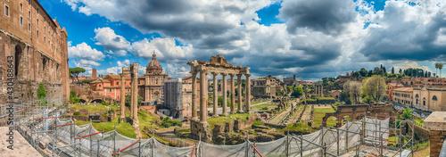 Fotografie, Obraz Scenic view over the ruins of the Roman Forum, Italy
