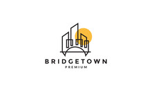 Bridge City And Sunset Lines Logo Vector Symbol Icon Design Graphic Illustration