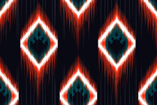 Ethnic Indian Ikat Seamless Pattern Design. Aztec Fabric Carpet Mandala African American Textile Decoration Wallpaper Design.vector Illustrations Background.