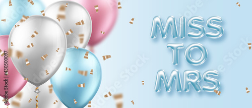 Fotografie, Obraz Bridal shower invitation template with balloons and 3d letters
