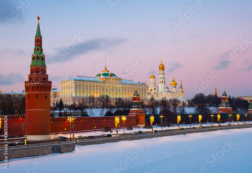 Fotografie, Tablou Scenic view of Moscow embankment near Moskva River overlooking medieval Kremlin
