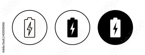 Photo Battery icons set. Battery vector icon