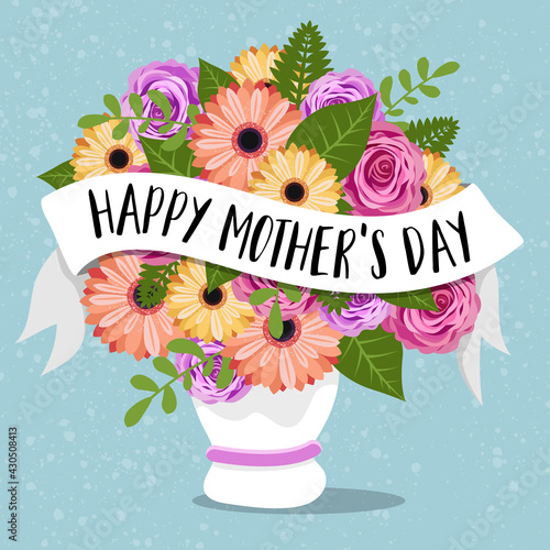 Fototapeta Happy mothers day card with colorful flowers in a vase and lettering illustration vector obraz
