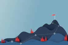 Route To The Red Flag On The Top Of Mountain.Mountain Peak Overcoming.Goal Achievement And Business Success Concept.