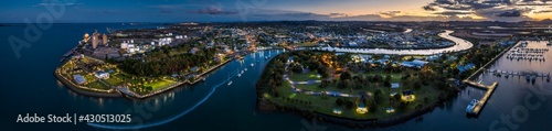 Fotografie, Obraz Aerial panoramic dusk view of Gladstone town and port in Queensland Australia