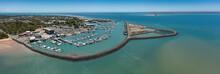 Aerial Panoramic Views Of Hervey Bay Marina In Hervey Bay, Queensland, Australia