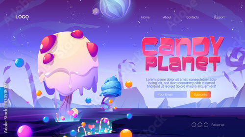 Candy planet cartoon landing page with fantasy alien trees and sweets. Magic unusual nature landscape for computer game, fairy tale cosmic background with beautiful strange plants, vector web banner - fototapety na wymiar