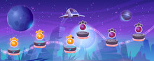 Mobile Arcade With Spaceship, Interstellar Shuttle Hover Above Alien Planet With Rocks And Assets On Flying Rocky Platforms, Fantasy Game Design, Extraterrestrial Landscape Cartoon Vector Illustration