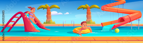 Kids in aquapark, amusement aqua park with water attractions, girl riding slide, boy swimming in pool on inflatable ring, outdoor playground for children entertainment, Cartoon vector illustration - fototapety na wymiar