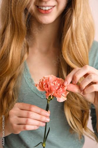 Fototapeta Young woman with beautiful carnation flower, closeup obraz