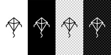 Set Line Kite Icon Isolated On Black And White Background. Vector